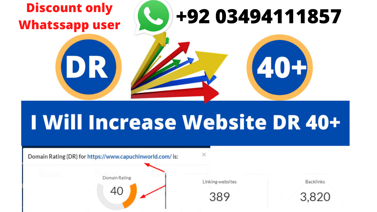 I will increase domain rating 40 plus Dofollow Redirect Backlinks
