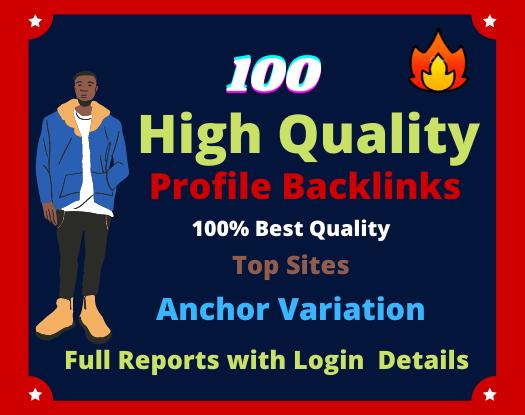 100 HQ Do Follow profile creation backlinks
