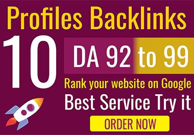 I will create 10 exclusive profile backlinks da 92 - 99 SEO Linkbuilding and get 10 free backlinks