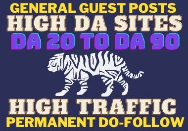 I will do guest post on high DA sites with dofollow backlink.
