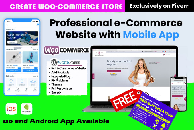 I will develop woocommerce website and mobile app