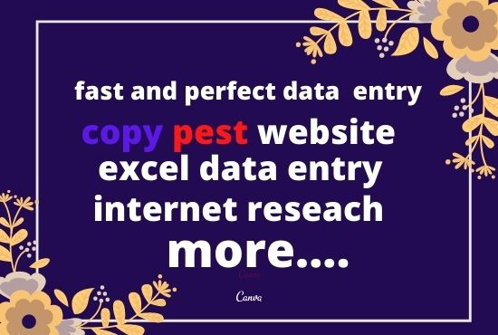 I will complete any excel data entry project