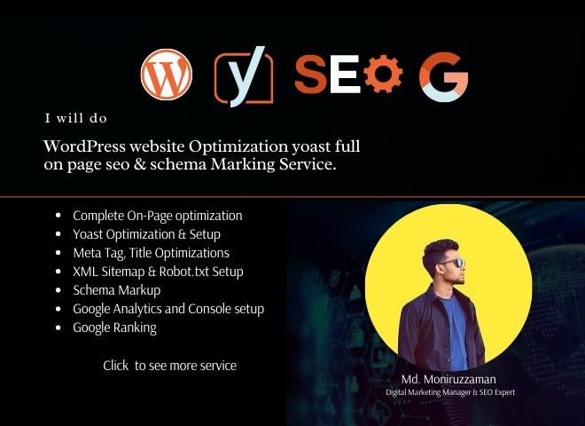 WordPress website Yoast on page SEO optimization service and schema marking