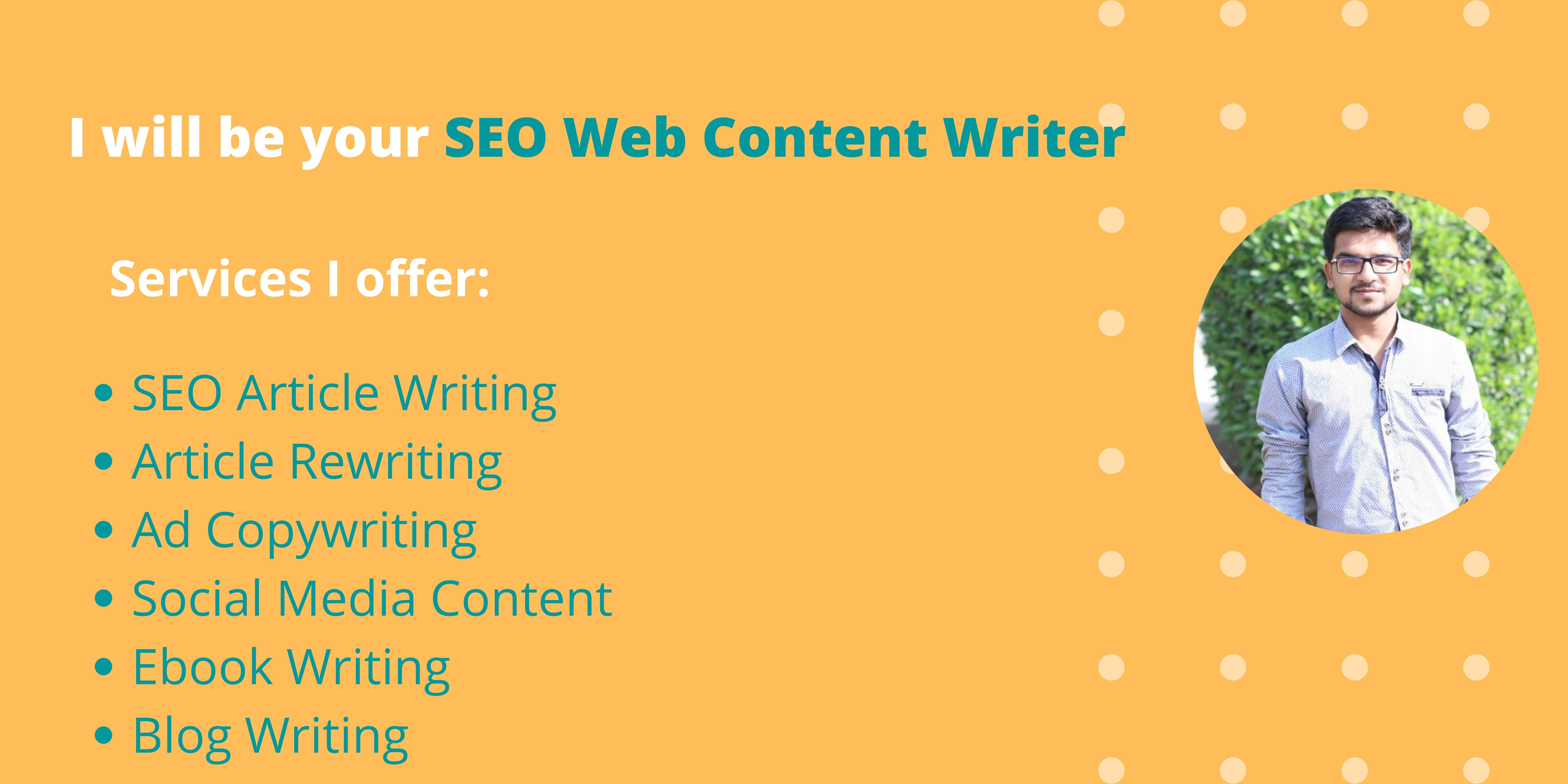I will be your SEO optimezed Content & Article Writer 500+ Words