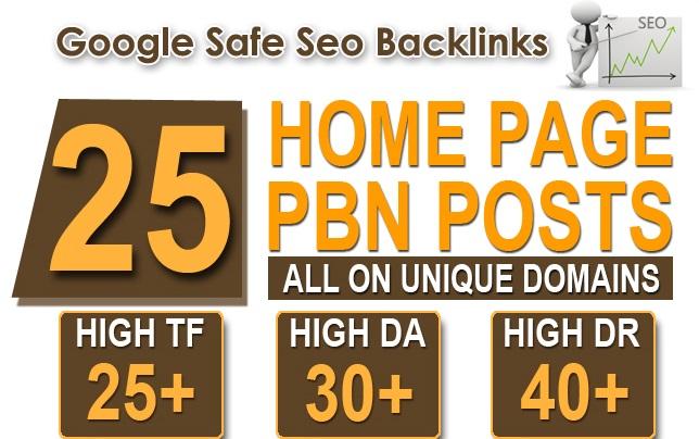 Build 25 Home Page TF CF DA PA 30+ Ultimate Powerful PBN Backlinks