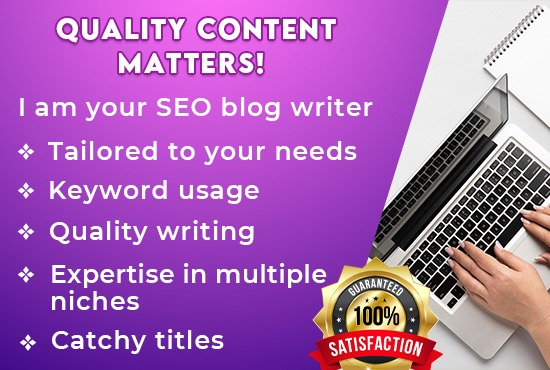 I will write 500 words incredible SEO friendly blog post and articles for you