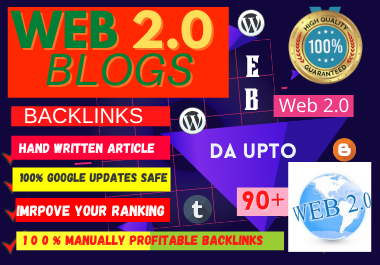 Manual 75 Web 2.0 high authority permanent backlinks unique link building boost your website ranking
