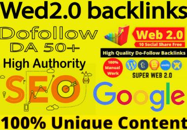 Create 80 web 2.0 Dofollow high authority contextual backlinks White hat seo backlinks