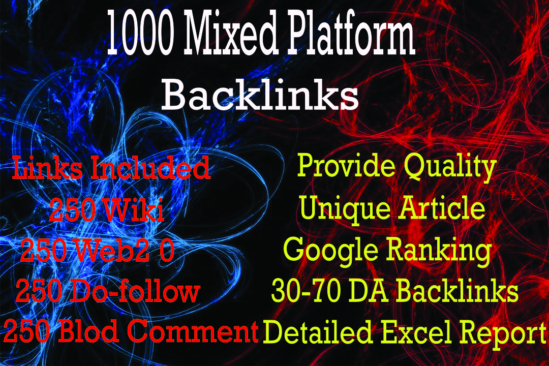 I Will Provide 1000 Mixed Platform Backlinks Do-Follow,  Wiki,  Web2.0,  Blog Comment.