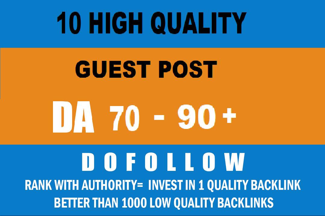 Write & publish 10 premium guest post on da90 plus high authority site