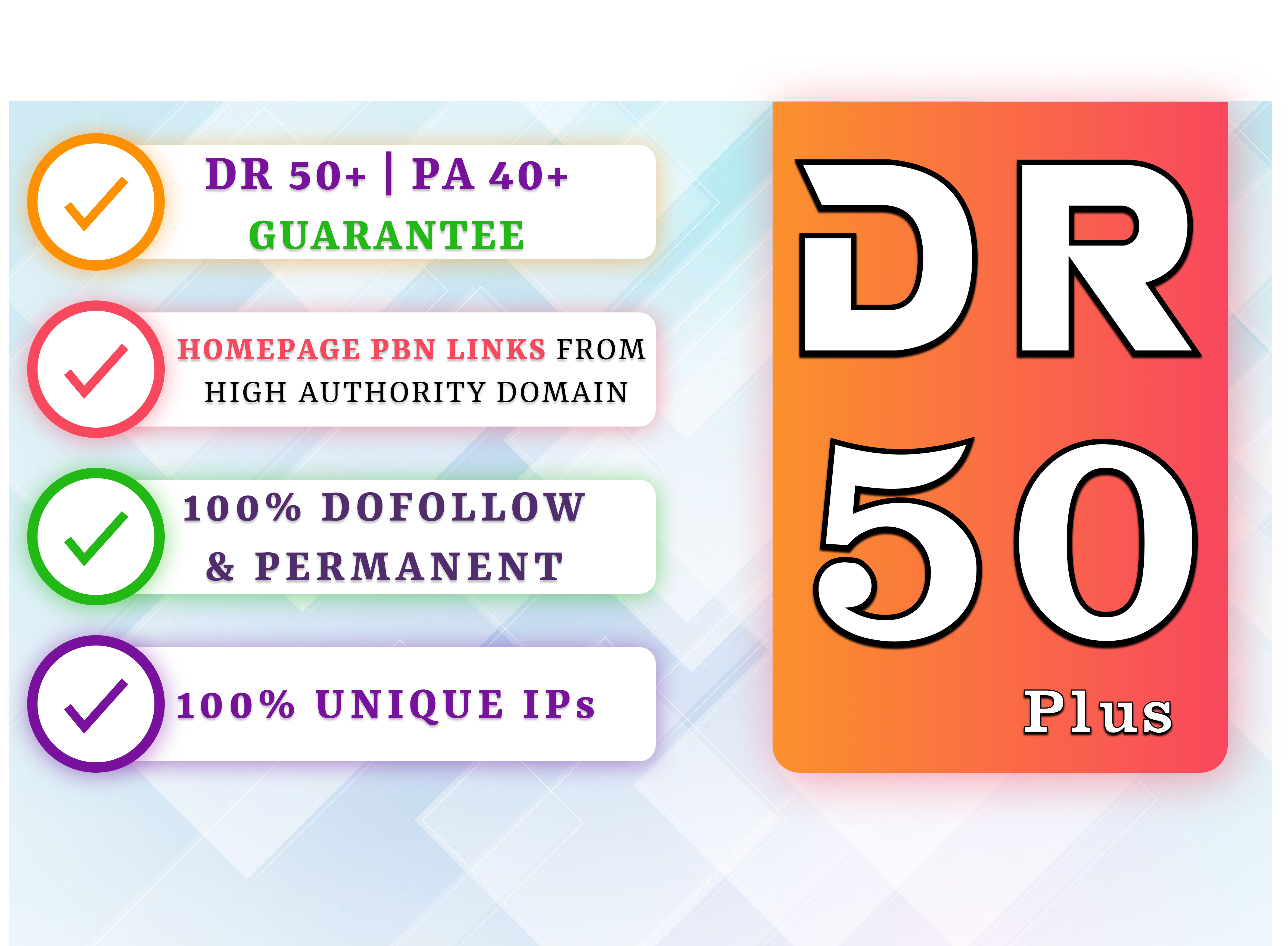 Get 10 High Quality DR 50+ Permanent HomePage Dofollow PBN Links