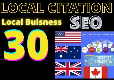 I'll create 30 local citation USA,  UK,  CANADA,  AUSTRALIA for your local seo