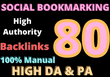 I'll create manually 80 social bookmarking high quality backlink in high da
