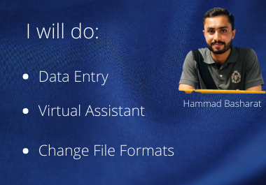 I will do any type of data entry and be your virtual Assistant.