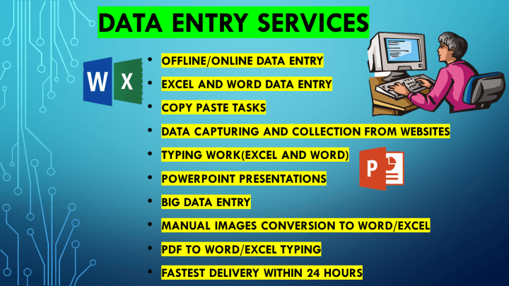 In-time prompt professional services in Data Entry,  Writing and Virtual Assistance
