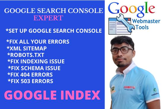 I will fix all webmaster tools technical seo optimization google indexing