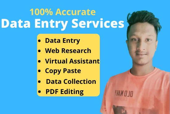 I Will Do Data Entry,  Web Research and Typing Job