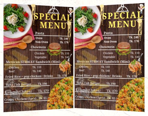 I Will create professional menu card for you