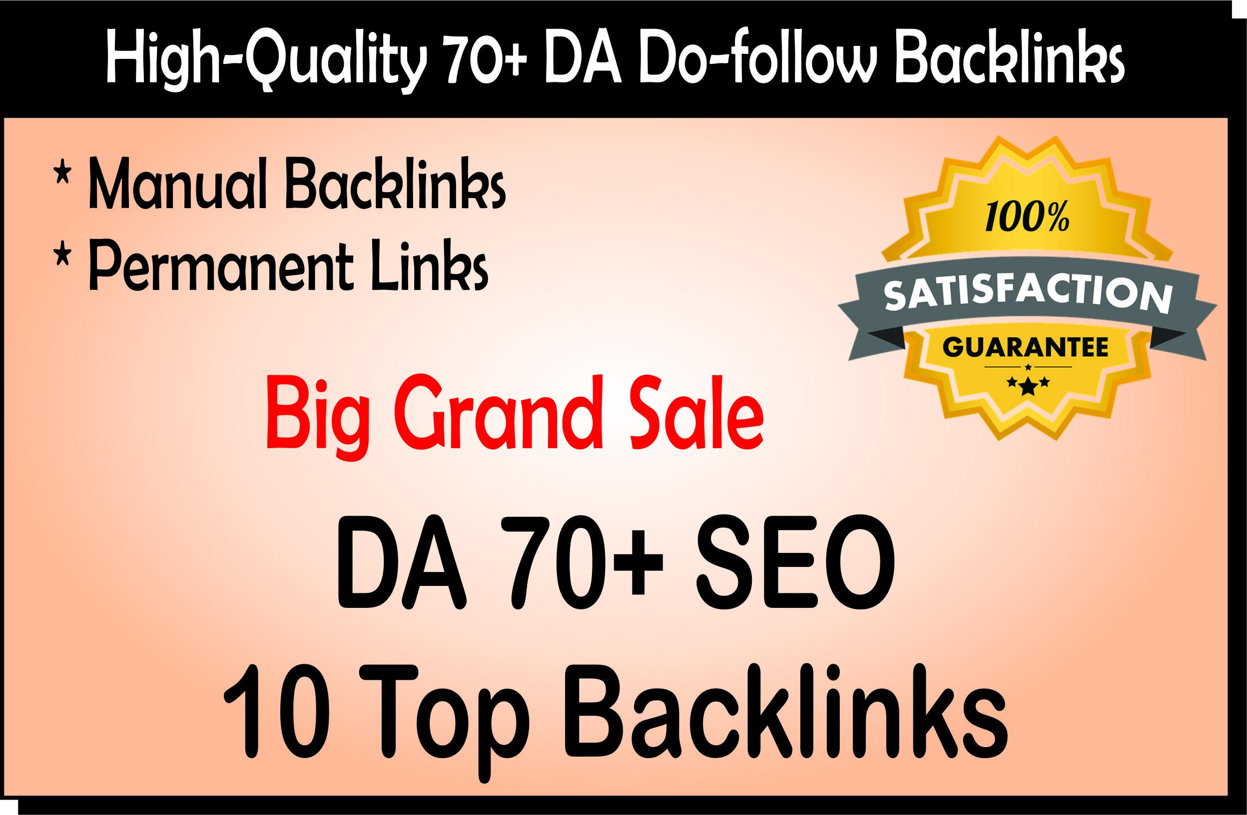 You Will Get 10 High Quality Backlinks On DA 70 Websites