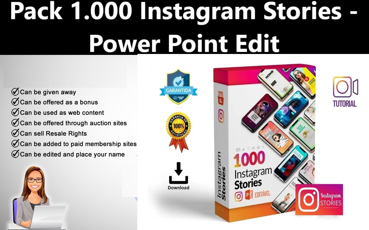 I Will give Pack 1.000 Instagram Stories - Power Point Edit