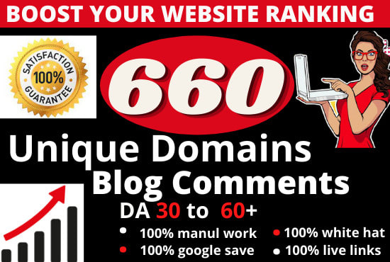 Make manual 660 unique domains blog comments seo backlinks with high da