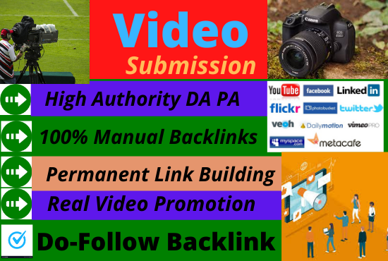 75 Video Submission backlinks high authority permanent dofollow link building