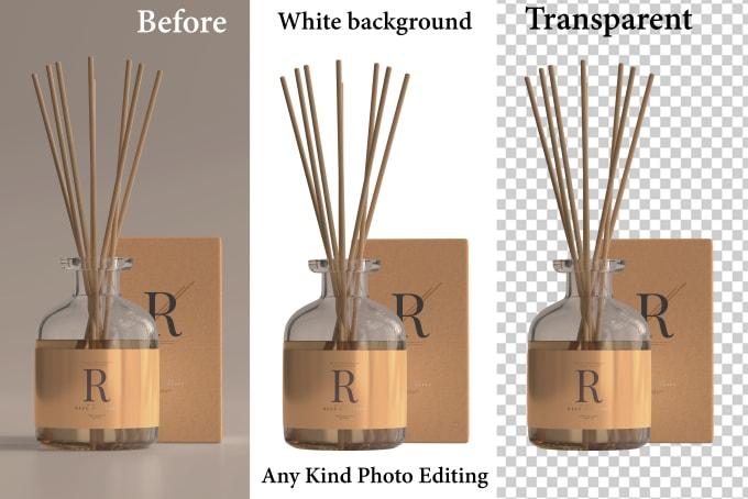 I will do amazon product photo editing white transparent background superfast
