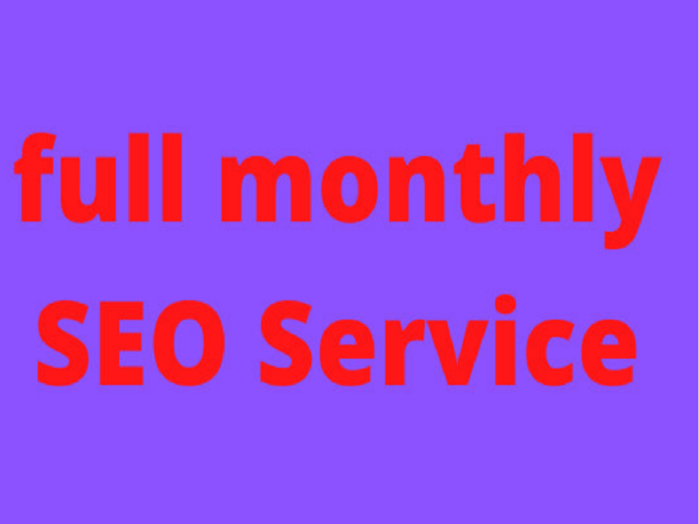 I will provide complete monthly SEO service for your website