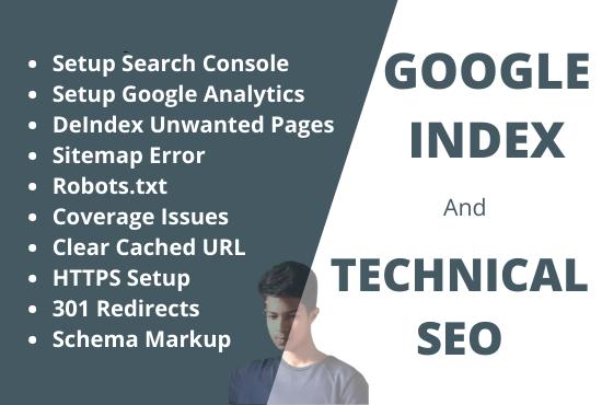 I will do google index technical SEO schema markup analytics setup