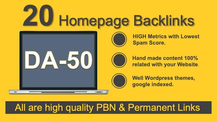 Make 20 PBN DA 50+ High Quality build Exclusive Themes unique Domains