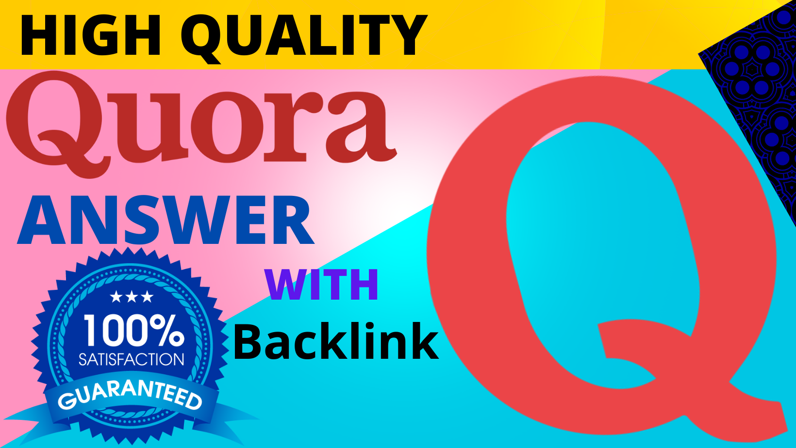 We will provide 50 HQ Quora Backlinks to get more traffic