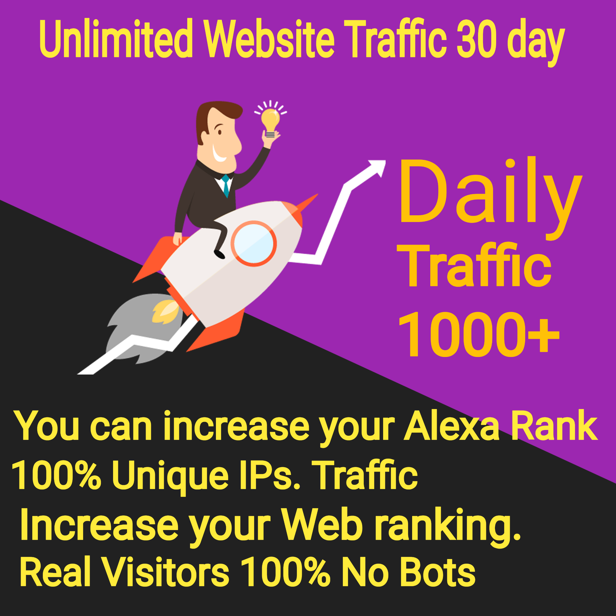 UNLIMITED TARGETED Web Traffic From Worldwide for your Website 30 day