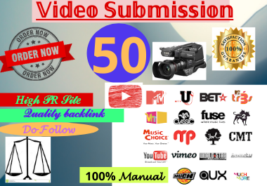 Live 80 Video Submission backlinks high authority permanent dofollow link building