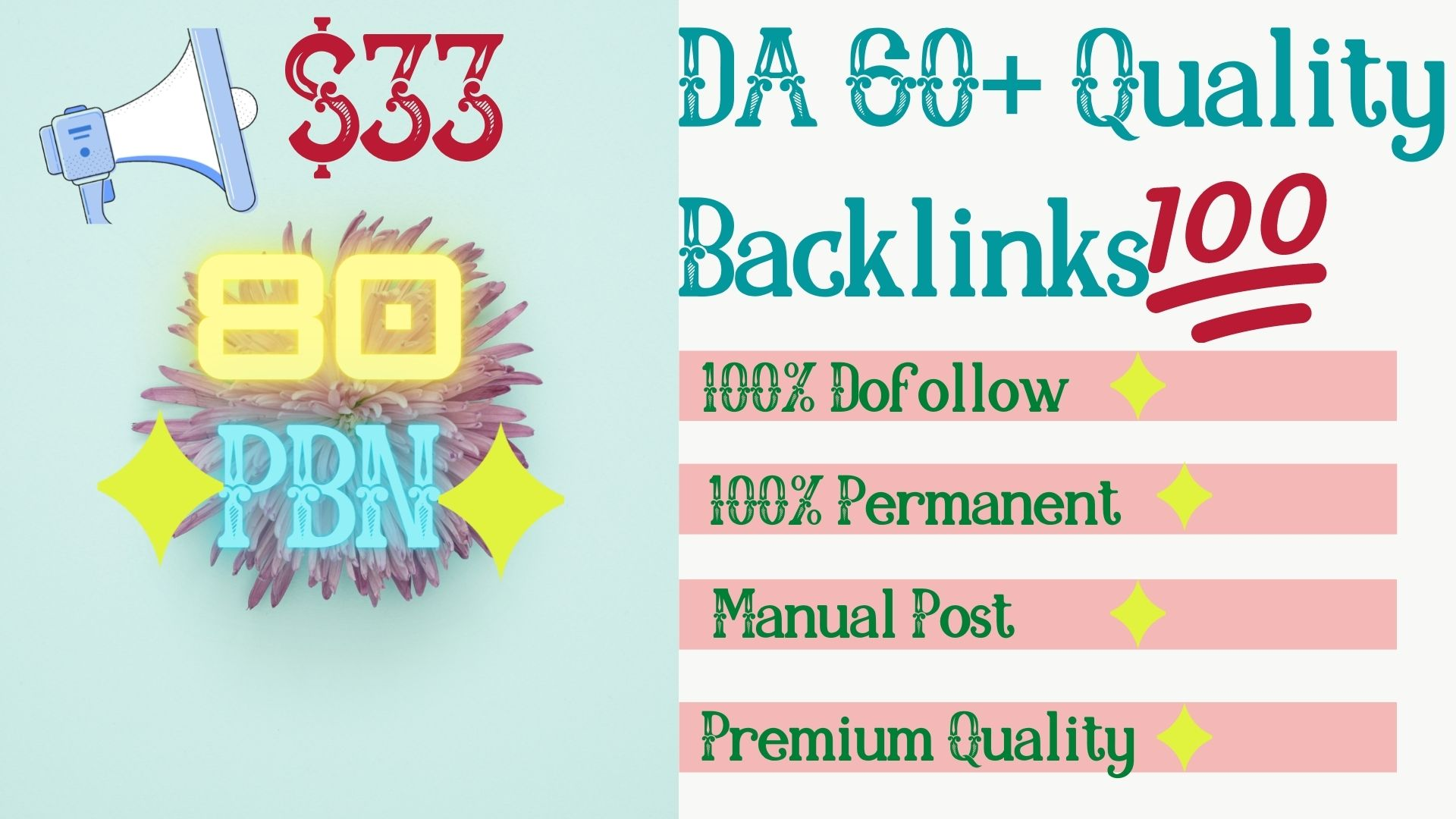 Get 80 High Quality DA 65+ Permanent HomePage Dofollow PBN Links.
