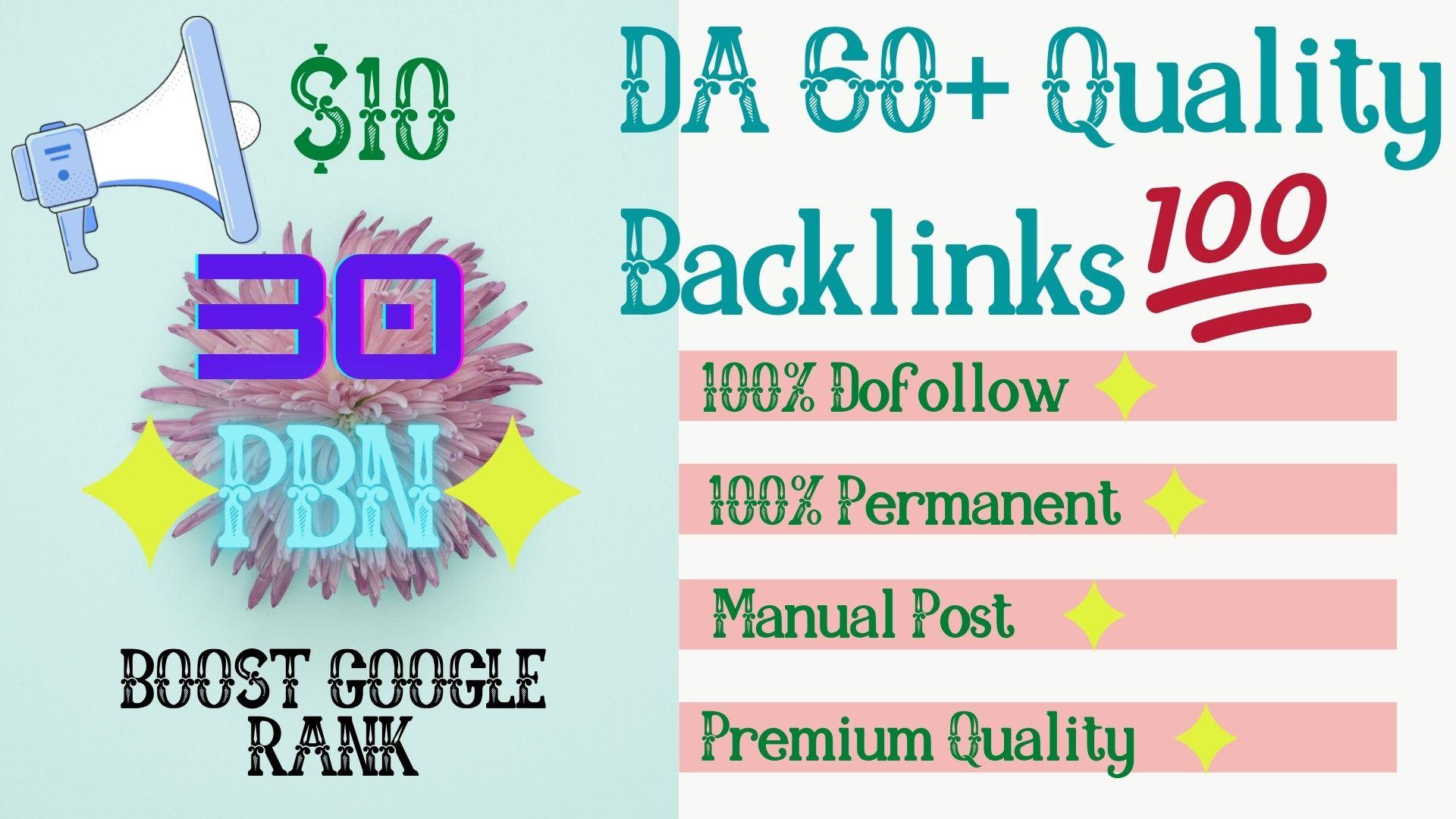 Get 30 High Quality DA 65+ Permanent Quality Dofollow PBN Links.