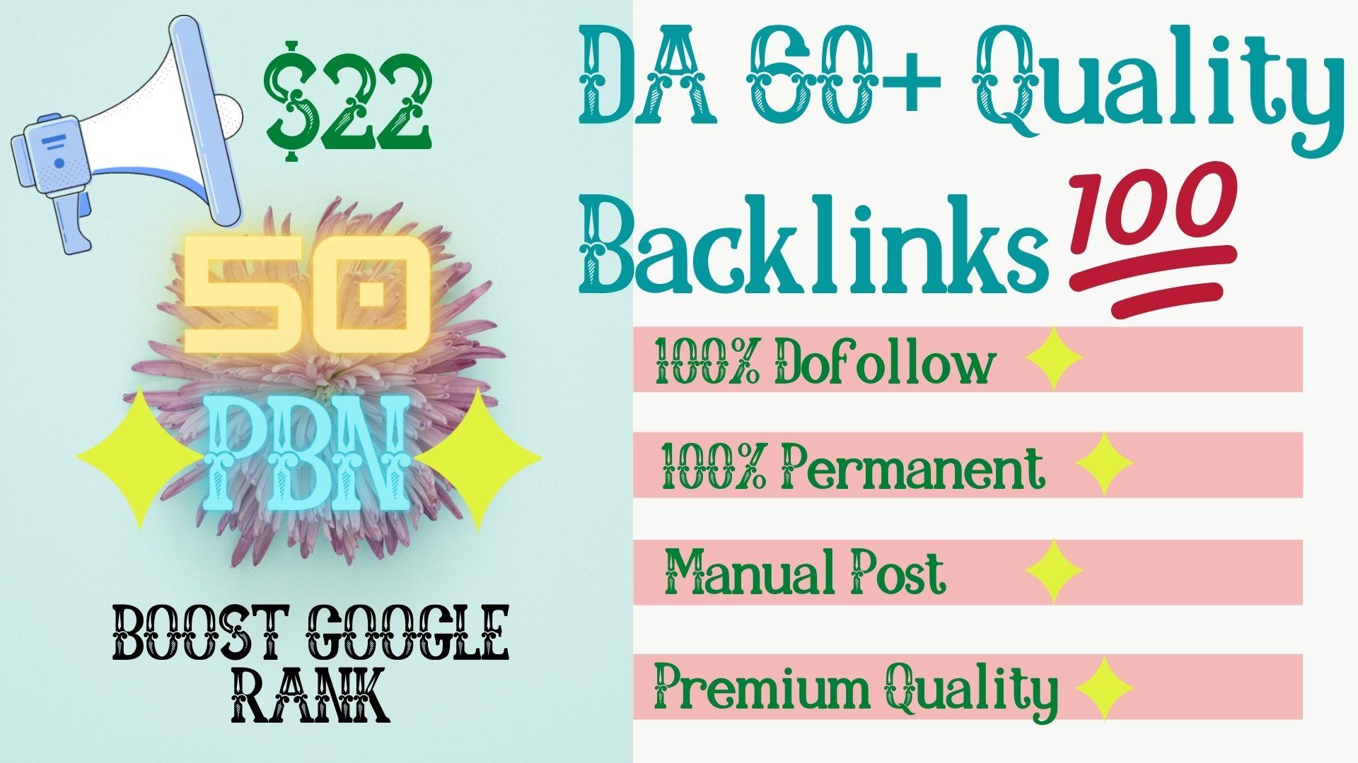 Get 50 High Quality DA 60+ Permanent HomePage Dofollow PBN Links.
