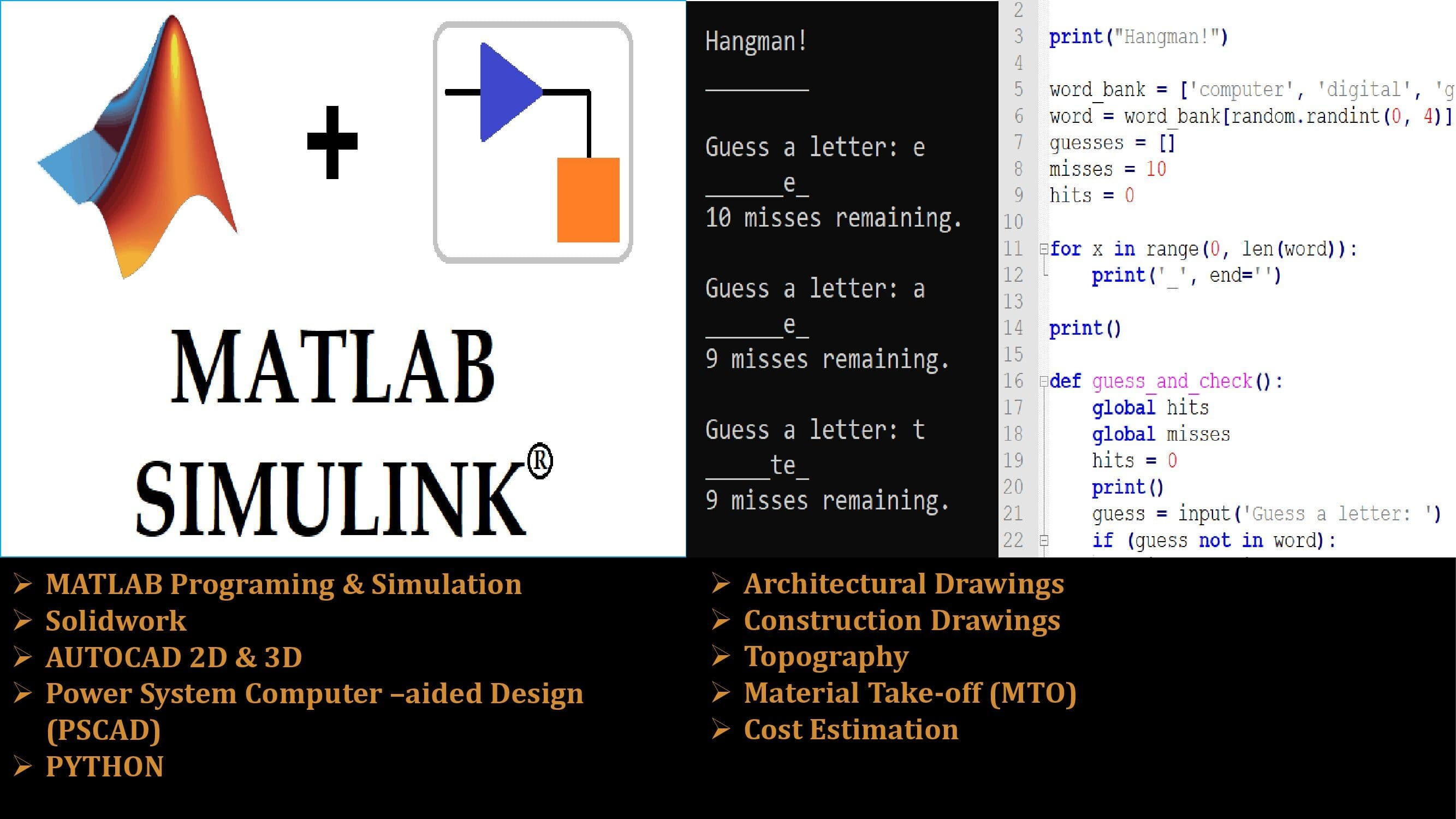 I will asset you with Matlab/Simulink and Python Projects