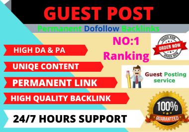 Dofollow 10 Guest Post High Authority website unique content backlink.
