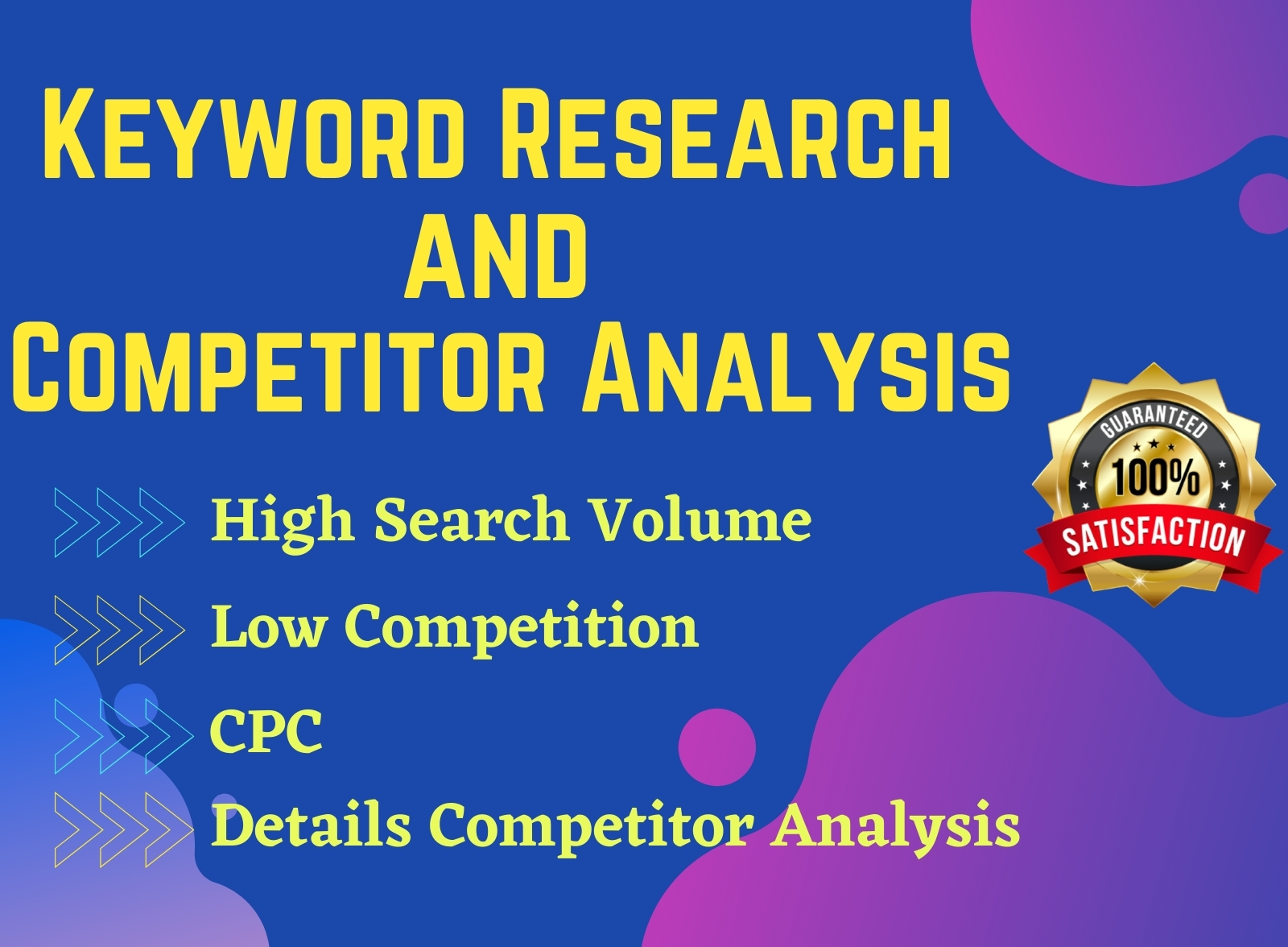 I will do best SEO keyword research and competitor analysis for google top ranking