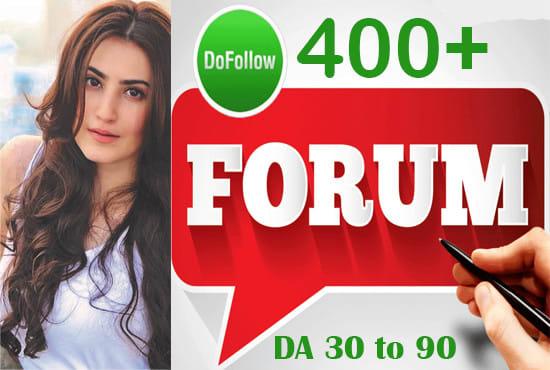 I will create 400 dofollow forum backlinks posting authority links
