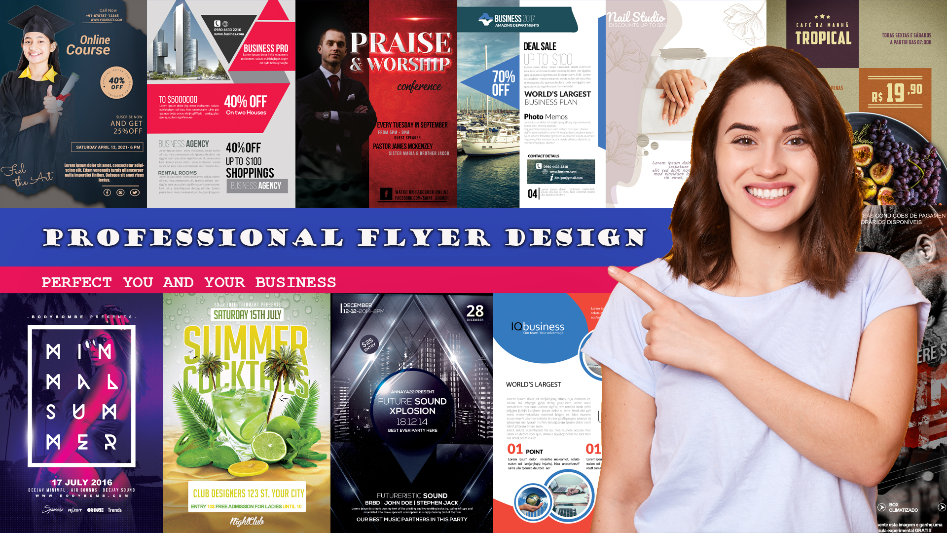I will design professional business,  event party or food flyer,  poster,  leaflet,  banner