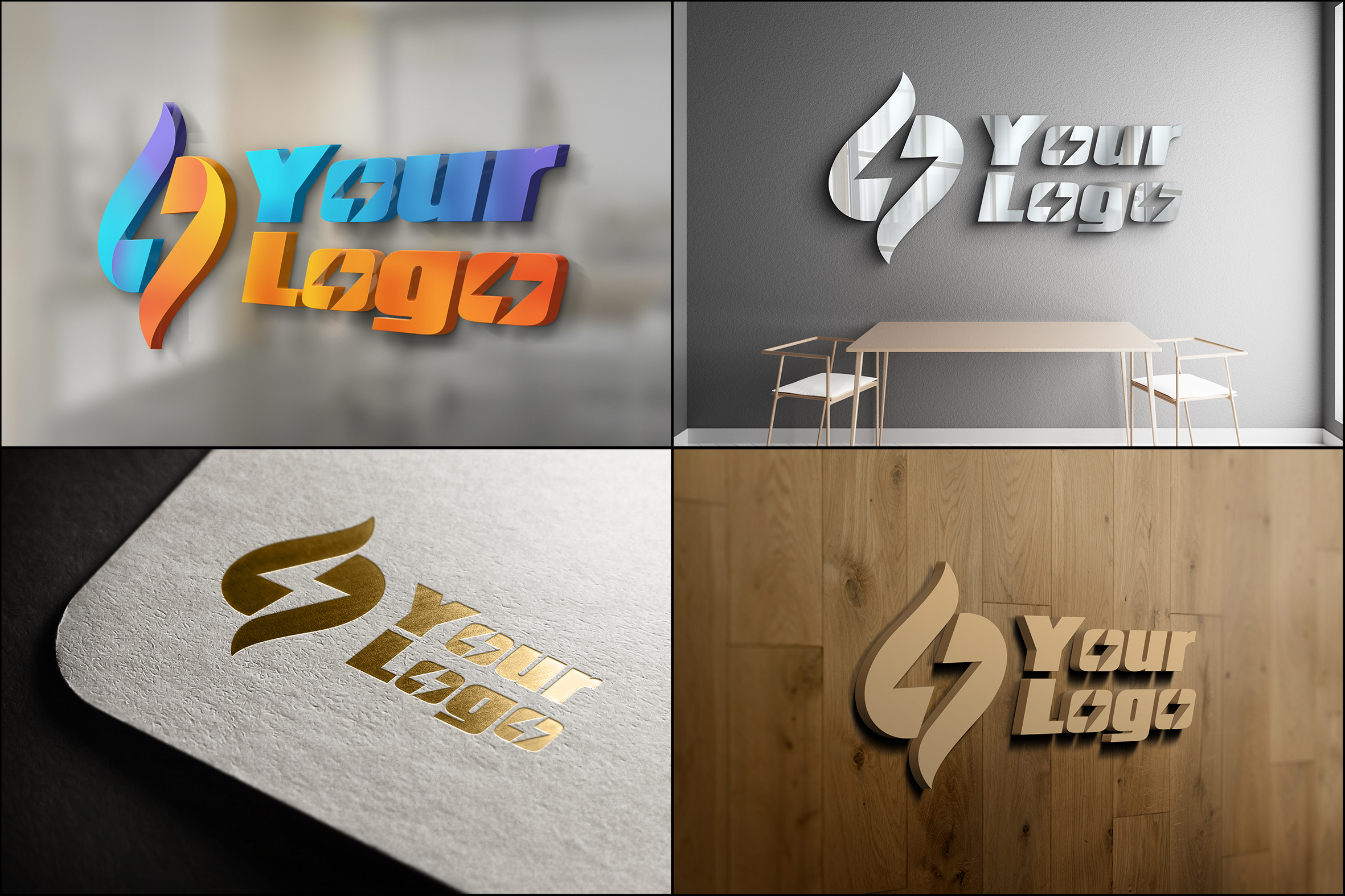 I will create 12 mockup 3d your logo on a lot material in 24h