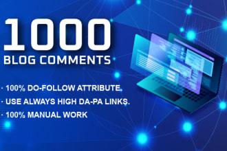 I will create 1000 dofollow blog comments manually SEO backlinks