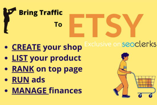 I will create design setup manage rank etsy shop with title and tags