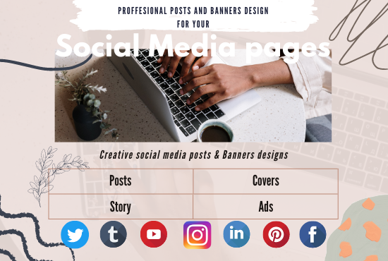 I will do creative social media design,  post,  banner ads for your social pages