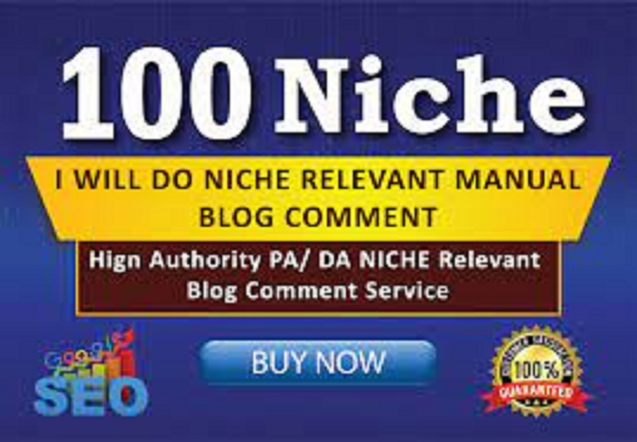 create manual 100 niche relevant blog comment off page SEO backlinks