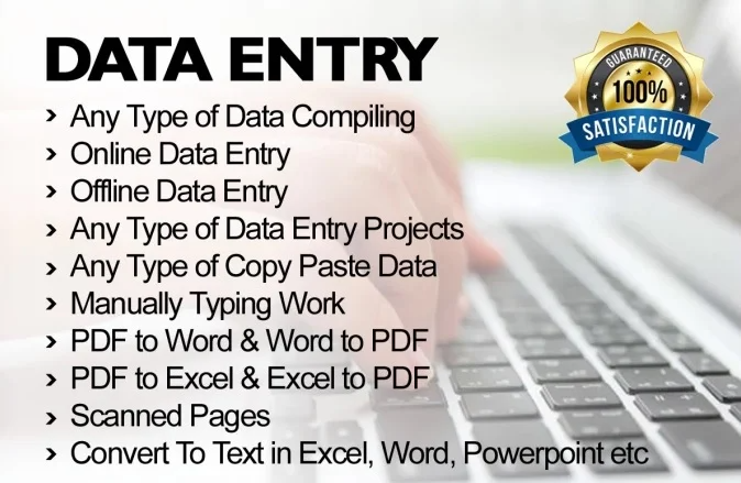 I Will do Data Entry,  Copy Paste,  PDF To Convert any data type Word,  Excel