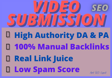 Live 65 Video Submission dofollow backlinks high authority high da niche relevant white hat