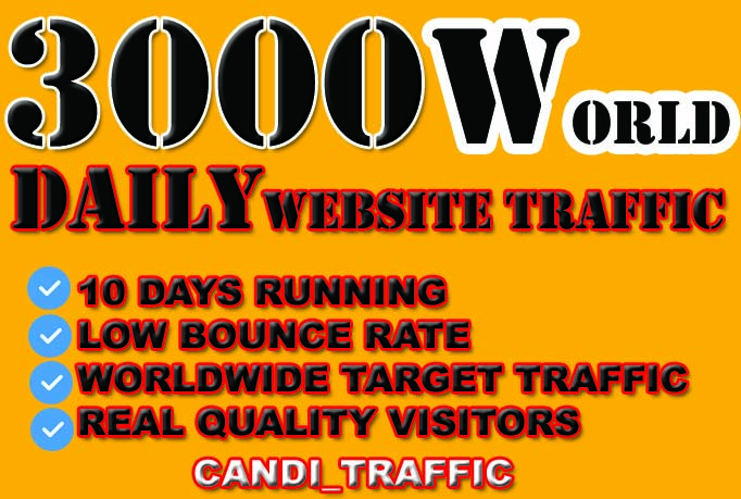 Drive 30,000 visitors world targeted real and quality traffic