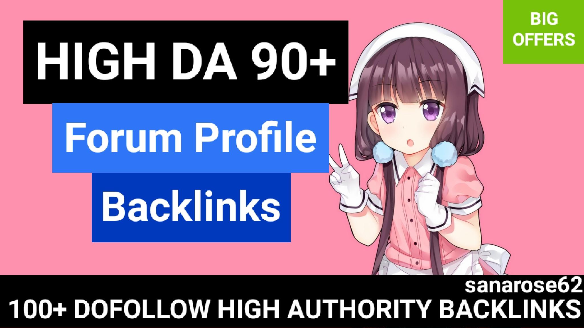 I Will do 100 high da do follow pr9 forum profile backlinks